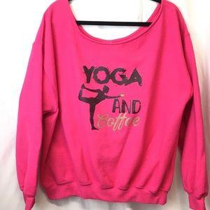 Yoga And Coffee Awkward Styles Sweatshirt 2XL